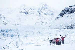 hiking on glacier