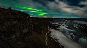 Gullfoss and northern lights